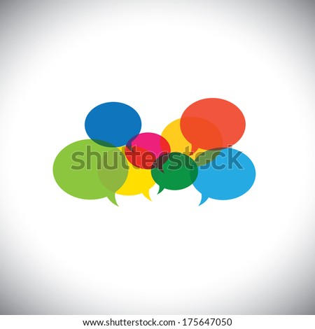 speech bubble icons or chat signs - communication vector concept. This graphic symbol also represents social media communication, virtual interaction, global internet chat, people opinions, ideas, etc - stock vector
