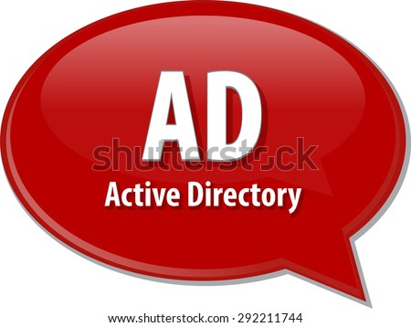 speech bubble illustration of information technology acronym abbreviation term definition, AD Active Directory - stock vector