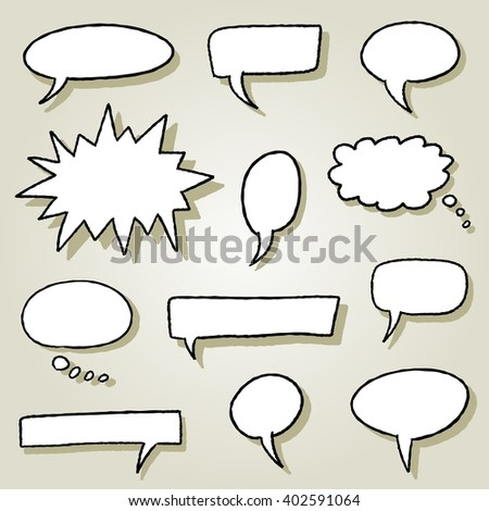 Speech bubble illustration set - comic style empty bubbles. - stock vector