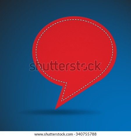 Speech bubble in red on blue background,vector illustration - stock vector