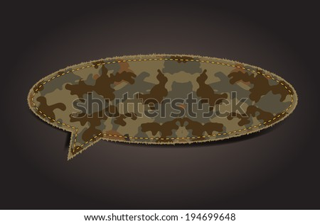 Speech bubble of camouflage fabric pattern shape badges, stickers, labels, tags, Vector illustration template design - stock vector