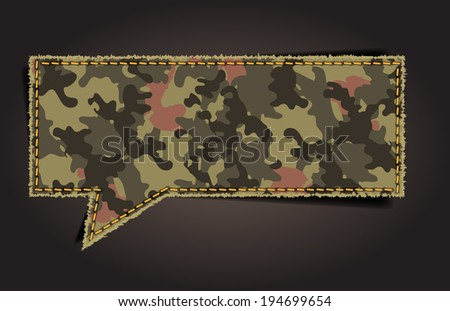 Speech bubble of camouflage fabric pattern shape badges, stickers, labels, tags, Vector template design - stock vector