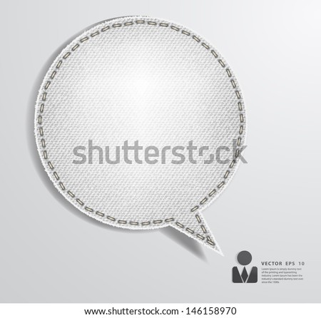 Speech bubble of denim fabric white badges, stickers, labels, tags, Vector template design - stock vector