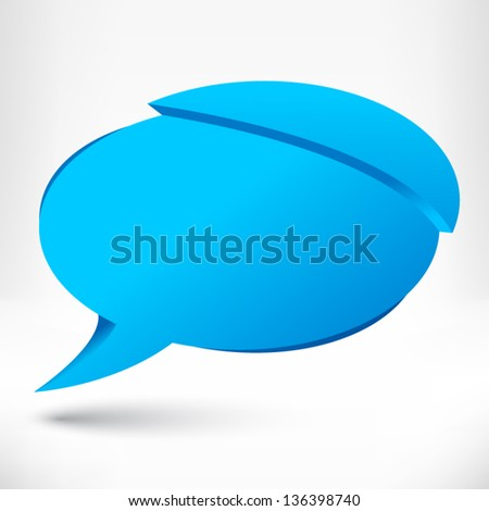 Speech bubble origami style. Blue. Vector abstract background.