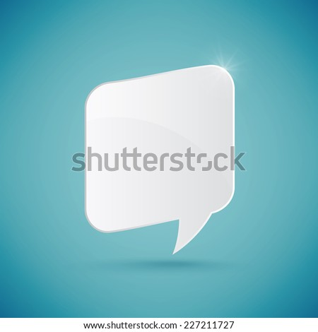 Speech bubble over blue background, vector illustration