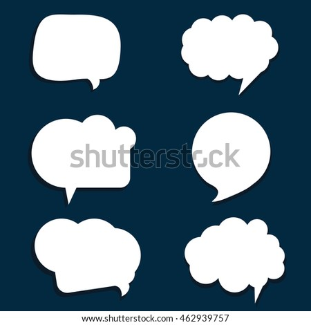speech bubble set in white color illustration on blue background