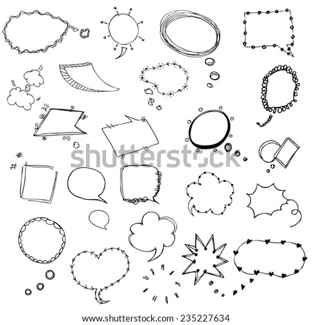 Speech bubble sketch symbol of free hand drawing vector illustration - stock vector