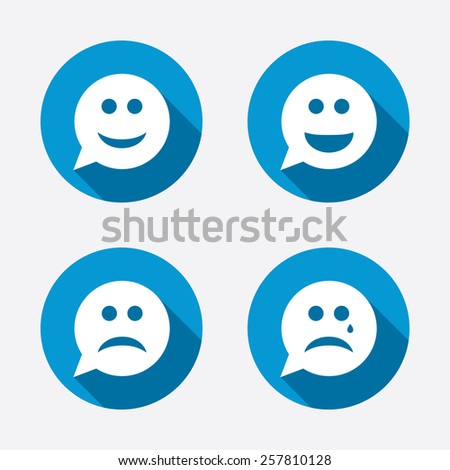 Speech bubble smile face icons. Happy, sad, cry signs. Happy smiley chat symbol. Sadness depression and crying signs. Circle concept web buttons. Vector - stock vector