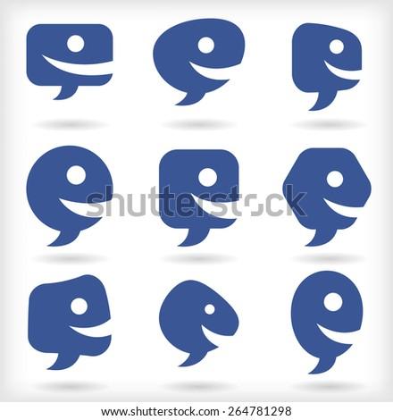 Speech bubble smileys - stock vector