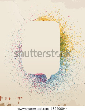 Speech bubble, spray painted, on old wall. Eps 10 - stock vector