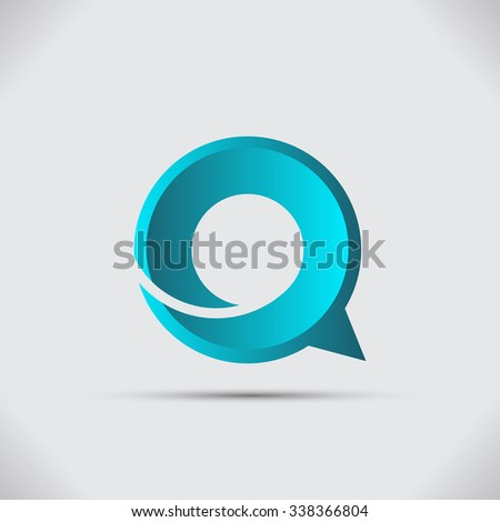 Speech bubble, symbol vector icon logo - stock vector