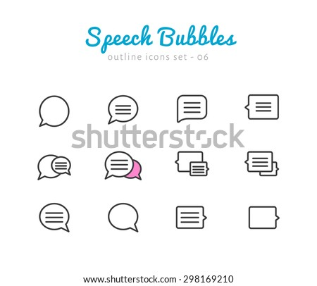Speech bubble thin linear icons set  for web and mobile application. Chat pictograms - stock vector