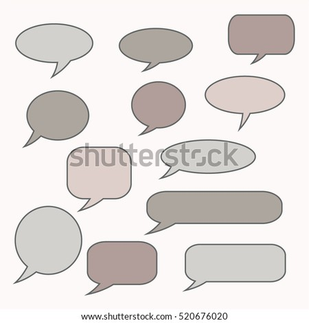 Speech bubble. Though balloon. Talk frame. Set of vector illustration icons.
