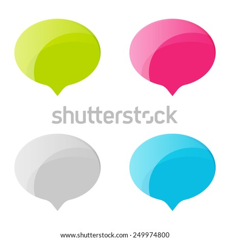 Speech Bubble Vector Icon set. Online status colorful shiny icons. - stock vector