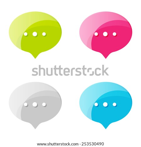 Speech Bubble Vector Icon set. Online status colorful shiny icons with dots.  - stock vector