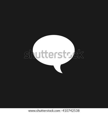 Speech bubble white icon on gray background