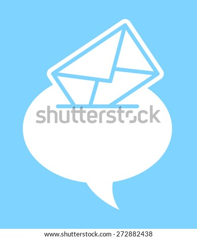 Speech bubble with an envelope conceptual of verbal versus written mail correspondence and communication, vector silhouette illustration on blue