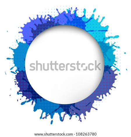 Speech Bubble With Blue Blob, Isolated On White Background, Vector Illustration - stock vector