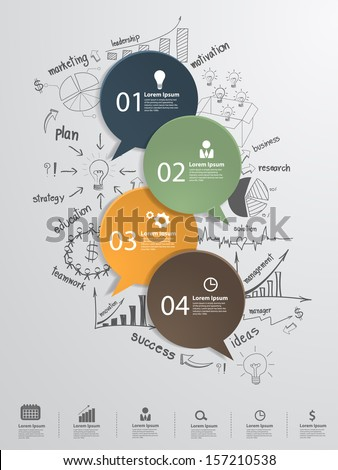Speech bubble with creative drawing business strategy plan concept idea, Modern business steps to success charts and graphs options banner, Vector illustration modern template design - stock vector