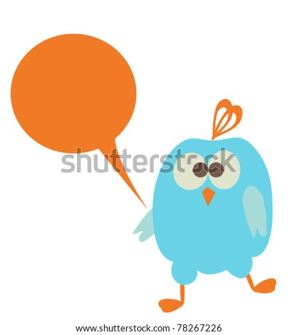 Speech bubble with cute silly bird