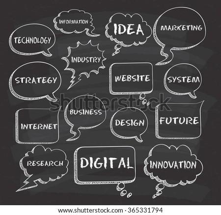 speech bubble with digital technology keywords on chalkboard background - stock vector