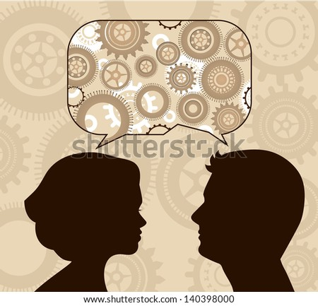 Speech bubble with gears and profiles - stock vector