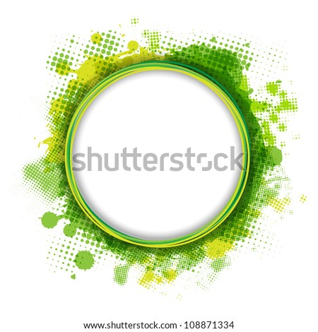 Speech Bubble With Green Blob, Isolated On White Background, Vector Illustration - stock vector
