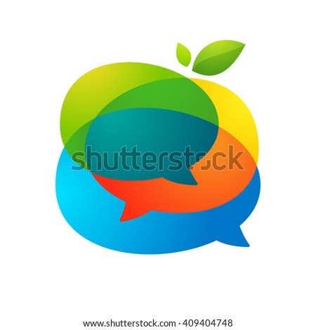 Speech bubble with green leaf logo. Vector design template elements for your application or corporate identity. - stock vector