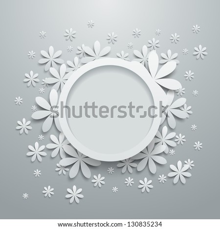 Speech bubble with paper flowers - stock vector