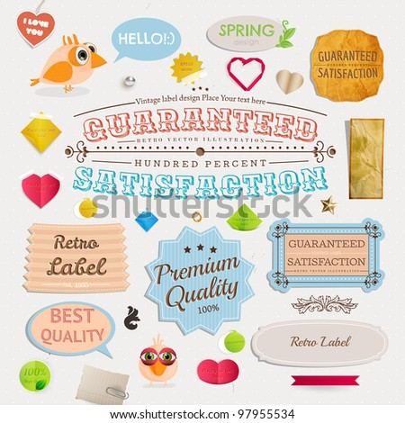 Speech bubbles and Guaranteed Labels set, birds and hearts. Old paper texture and vintage frames collection for invitation design. - stock vector