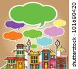 Speech bubbles and old city,Vector - stock vector