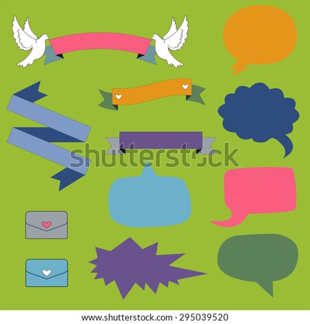 Speech bubbles and ribbons set. - stock vector
