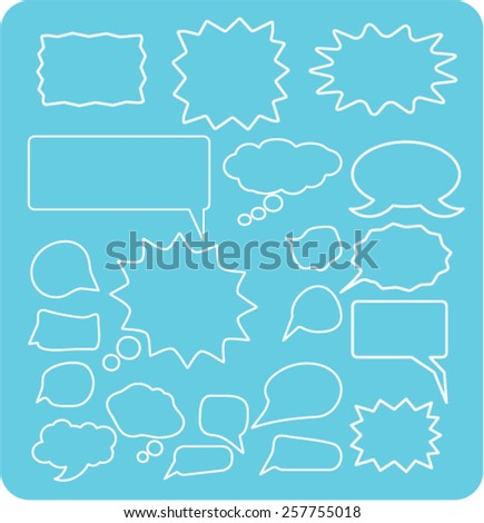 speech bubbles, chat isolated icons, signs, illustrations concept design set on background for website, internet, template, application, advertising. - stock vector