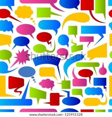 Speech bubbles colorful seamless pattern. - stock vector