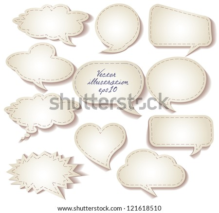 Speech bubbles cut from paper. Set. Isolated on white background. Vector illustration eps 10 - stock vector