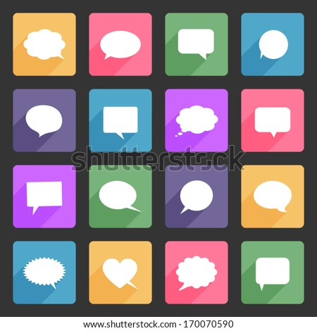 Speech bubbles flat icons set - stock vector