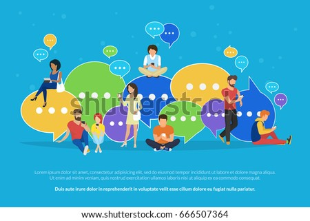Speech bubbles for comment and reply concept flat vector illustration of young people using mobile smartphone and tablets for texting and communicating on networks. Guys and women sitting on bubbles
