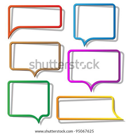 Speech bubbles from paper. Vector set - stock vector