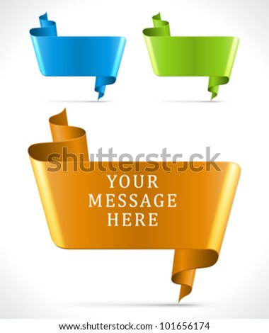 Speech bubbles from ribbon vector backgrounds set eps 10 - stock vector