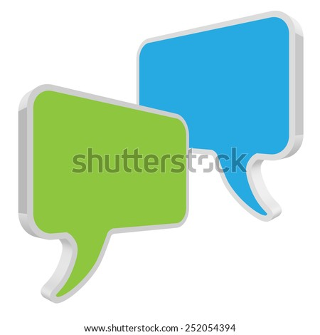 speech bubbles green blue in perspective on white background - stock vector