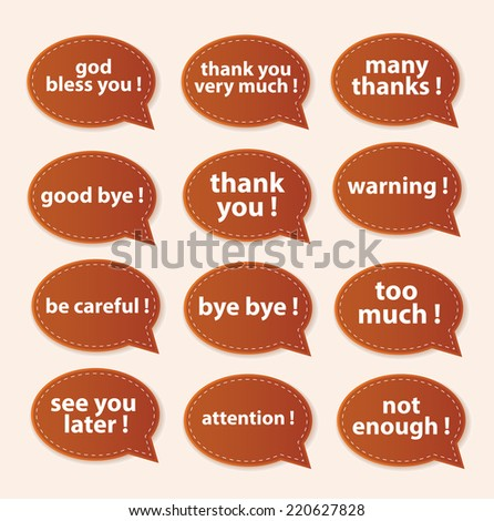 Speech Bubbles Greeting Proud Collection - stock vector