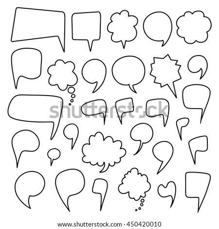 Speech bubbles hand drawn sketch set. Line art, outline design elements set isolated on white background