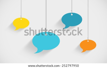 Speech Bubbles Hanging On Strings - stock vector