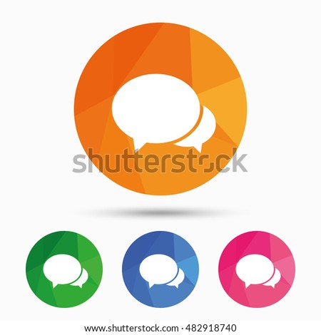 Speech bubbles icon. Chat or blogging sign. Communication symbol. Triangular low poly button with flat icon. Vector
