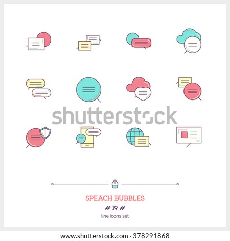 Speech bubbles icons set. Vector logo icons illustrations. Isolated on white icons. - stock vector