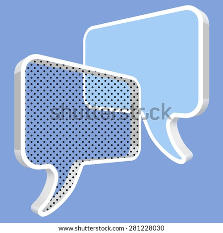 speech bubbles in perspective blue polka dots - stock vector