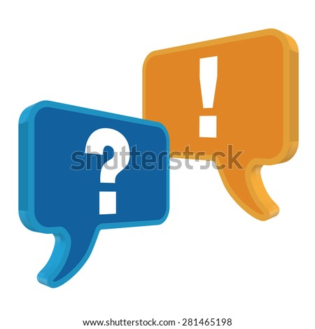 speech bubbles in perspective colorful question & exclamation mark  - stock vector