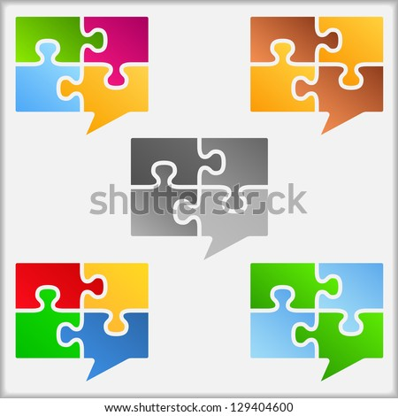 Speech bubbles made of puzzle pieces, design elements for your logo, vector eps10 illustration - stock vector