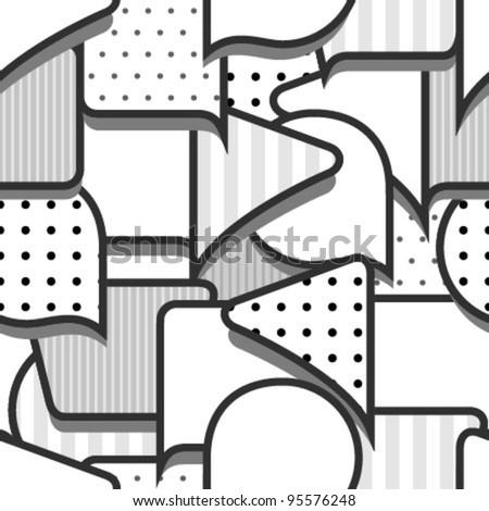 speech bubbles monochromatic seamless pattern - stock vector