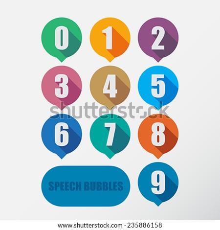 Speech bubbles number set. Flat design. - stock vector